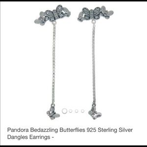 NWT PANDORA BEDAZZLED BUTTERFLY EARRINGS